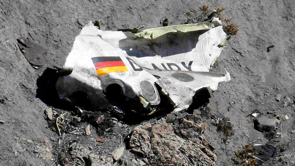 Wreckage of the Airbus A320 is seen at the site of the crash, near Seyne-les-Alpes, French Alps March 26, 2015. (AP)