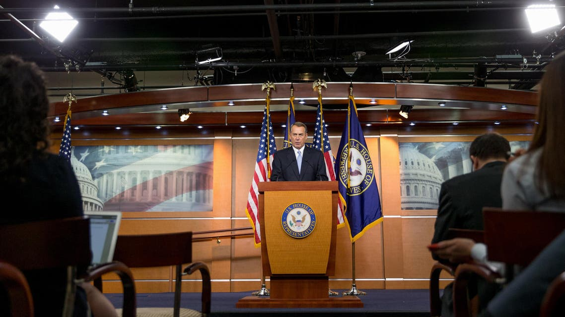 House Speaker John Boehner of Ohio speaks to members of the media during his weekly news Conference on Capitol Hill in Washington, Thursday, March 26, 2015. (AP)