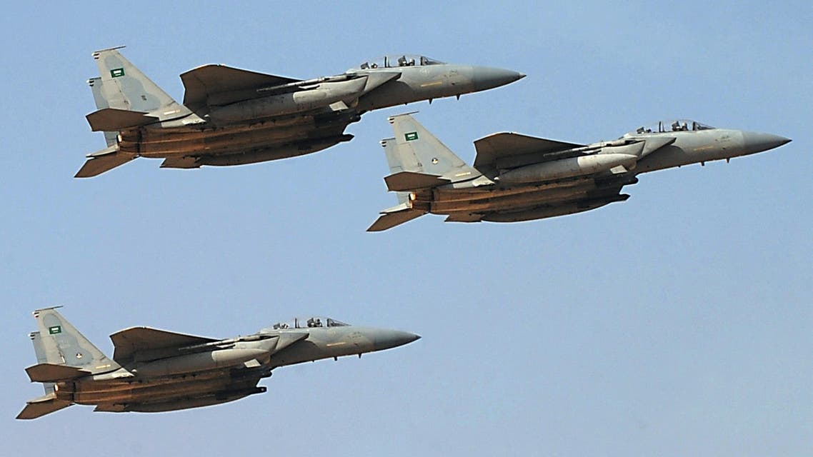 jet fighters of the Saudi Royal air force performing during the graduation ceremony of the 83rd batch of King Faisal Air Academy (KFAA) students at the Riyadh military airport, in the Saudi capital. (AFP)