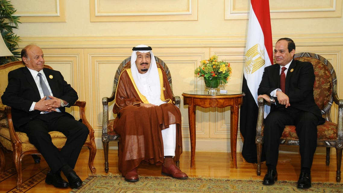 Yemen President Hadi, Saudi King Salman, Egypt President Sisi AFP