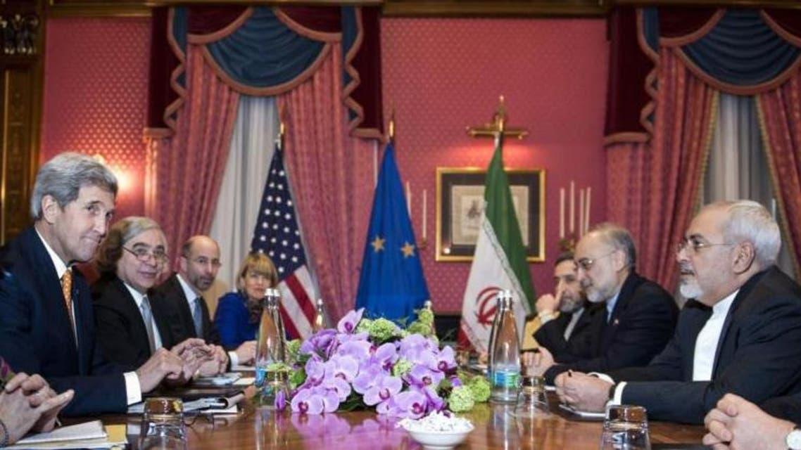 كيري وفابيوس وشتاينماير في لوزان لنقاش نووي إيران