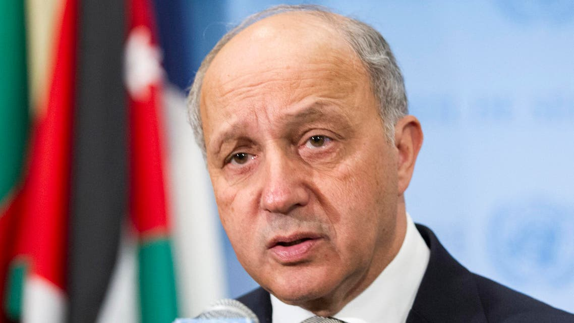 In this March 27, 2015, photo provided by the United Nations, Laurent Fabius, Minister of Foreign Affairs of France, speaks with the media at United Nations headquarters. (AP)