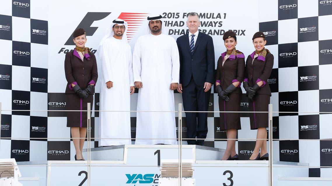 Director of Abu Dhabi Events Bureau Faisal Al Sheikh (L), Yas Marina Circuit CEO Al Tareq Al Ameri (C), and Etihad Airways' Senior Vice President of Marketing Shane O'Hare (R). (Photo courtesy: Seven Media)
