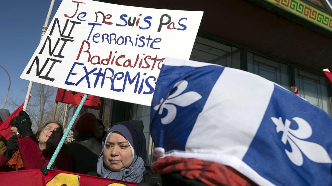People rally to denounce a planned march by the Patriotic Europeans Against the Islamization of the West (PEGIDA) in Montreal March 28, 2015.  (Reuters)