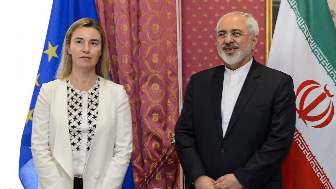 وزير الخارجية الإيراني ووزيرة خارجية الاتحاد الأوروبي في لوزان