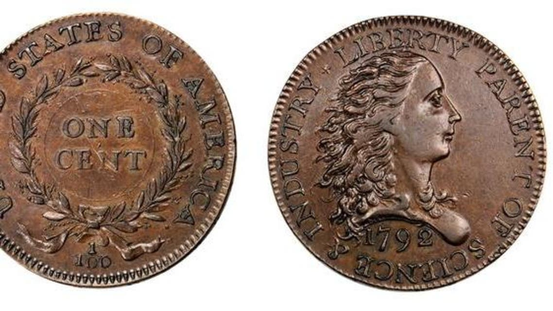 This photo obtained March 26, 2015 courtesy of Stack's Bowers Galleries shows the 1792 Birch Cent, front (L) and back(R). A rare prototype of the first American penny, dating from 1792, has just changed hands for 117.5 million pennies. (AFP)