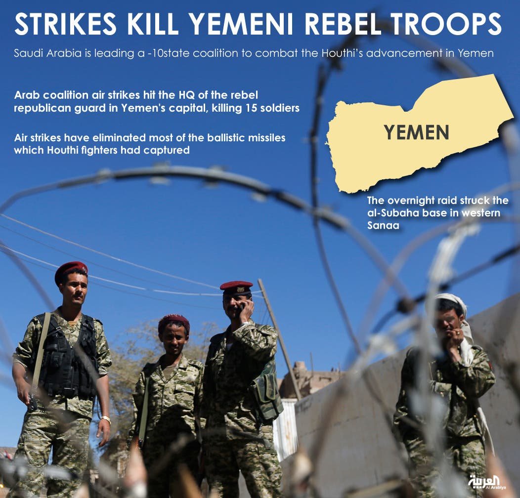 Infographic: Strikes kill Yemeni rebel troops