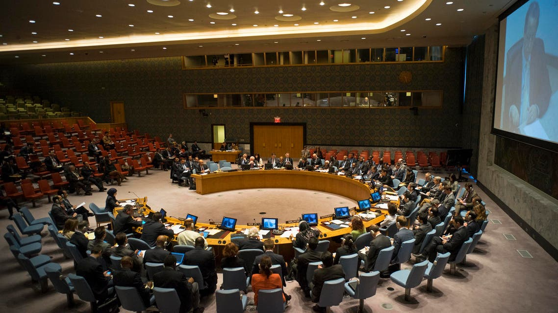 The United Nations Security Council meets to discuss the situation in the Middle East at UN headquarters, Sunday, March 22, 2015. (AP