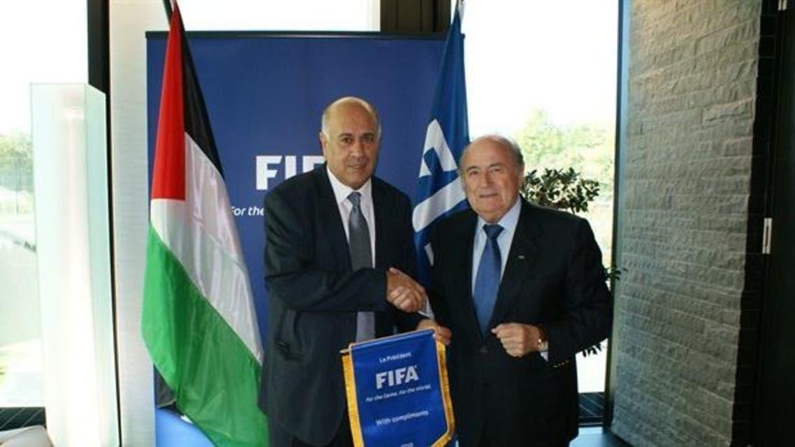 FIFA President Joseph S. Blatter alongside Jibril Al Rajoub, the president of the Palestinian Football Association