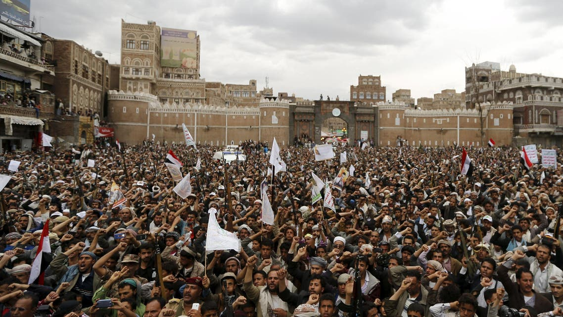 Followers of the Shi'ite Muslim rebel al-Houthi group rally against air strikes in Sanaa March 26, 2015. (Reuters)