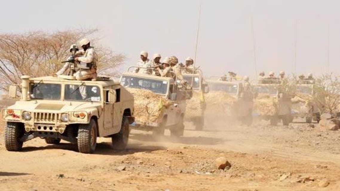 Saudi troops patrol in the southern province of Jazan along the border with Yemen in this file photo. (AP)