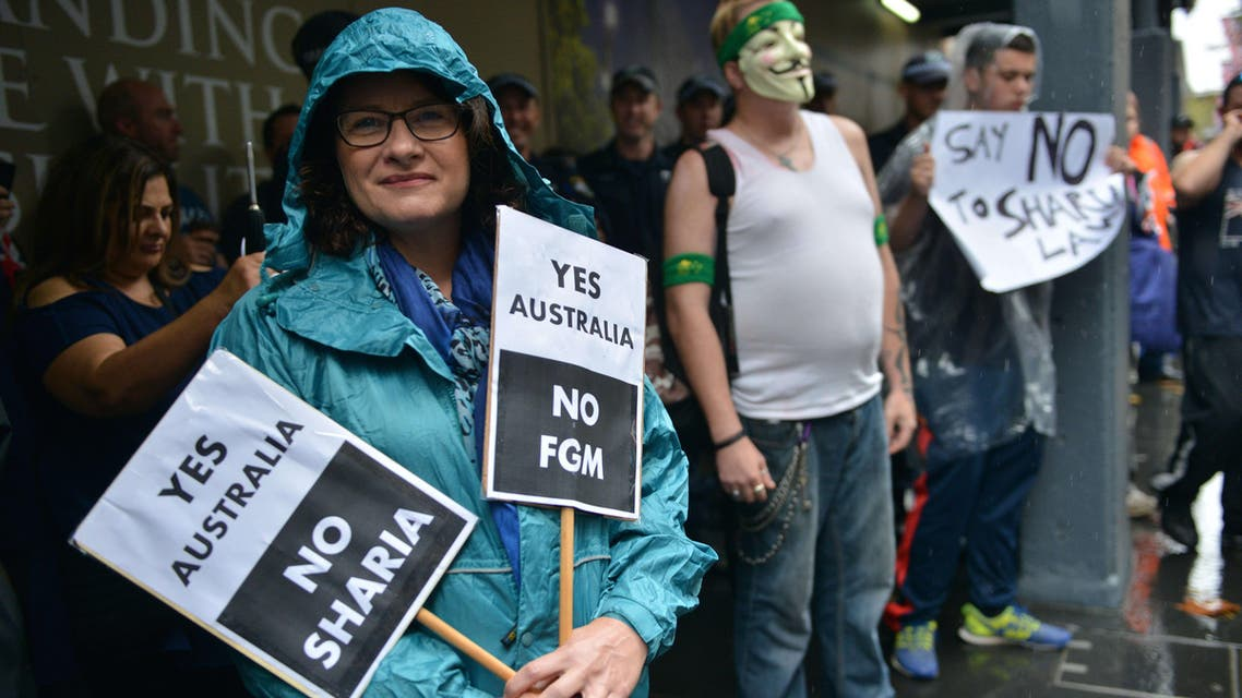 """Protesters attend a """"Reclaim Australia"""" rally to oppose religious extremism in Sydney on April 4, 2015."""