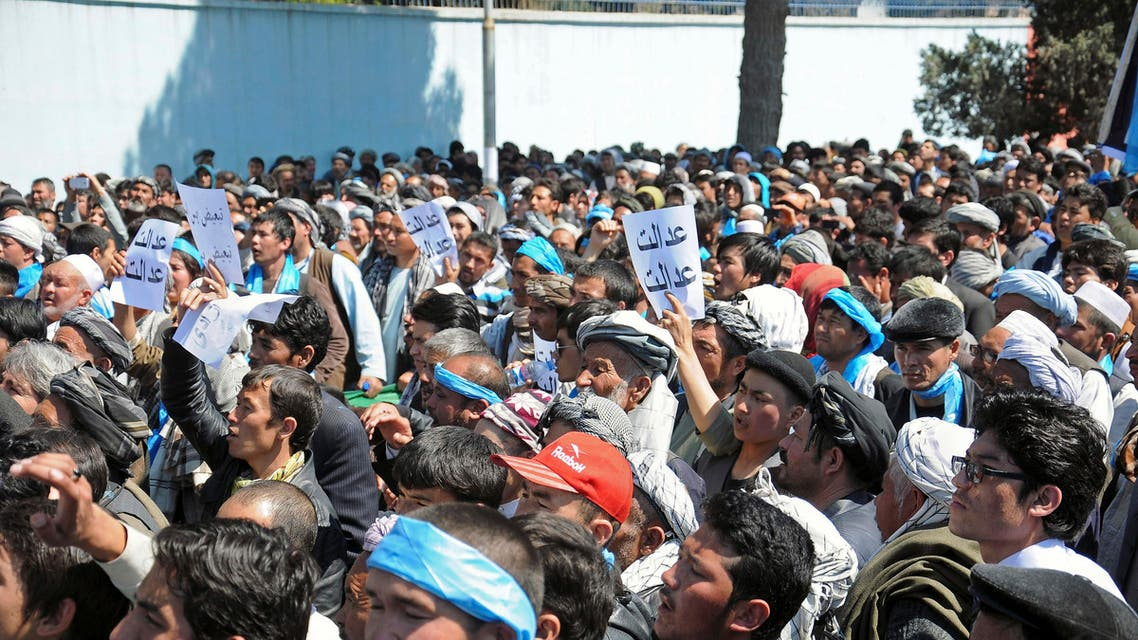 Thousands of members of the minority Shiite Hazara community protest over 31 Hazaras abducted Feb. 24 in the southern Zabul province, in Mazar-e-sharif, north of Kabul. (File: AP)