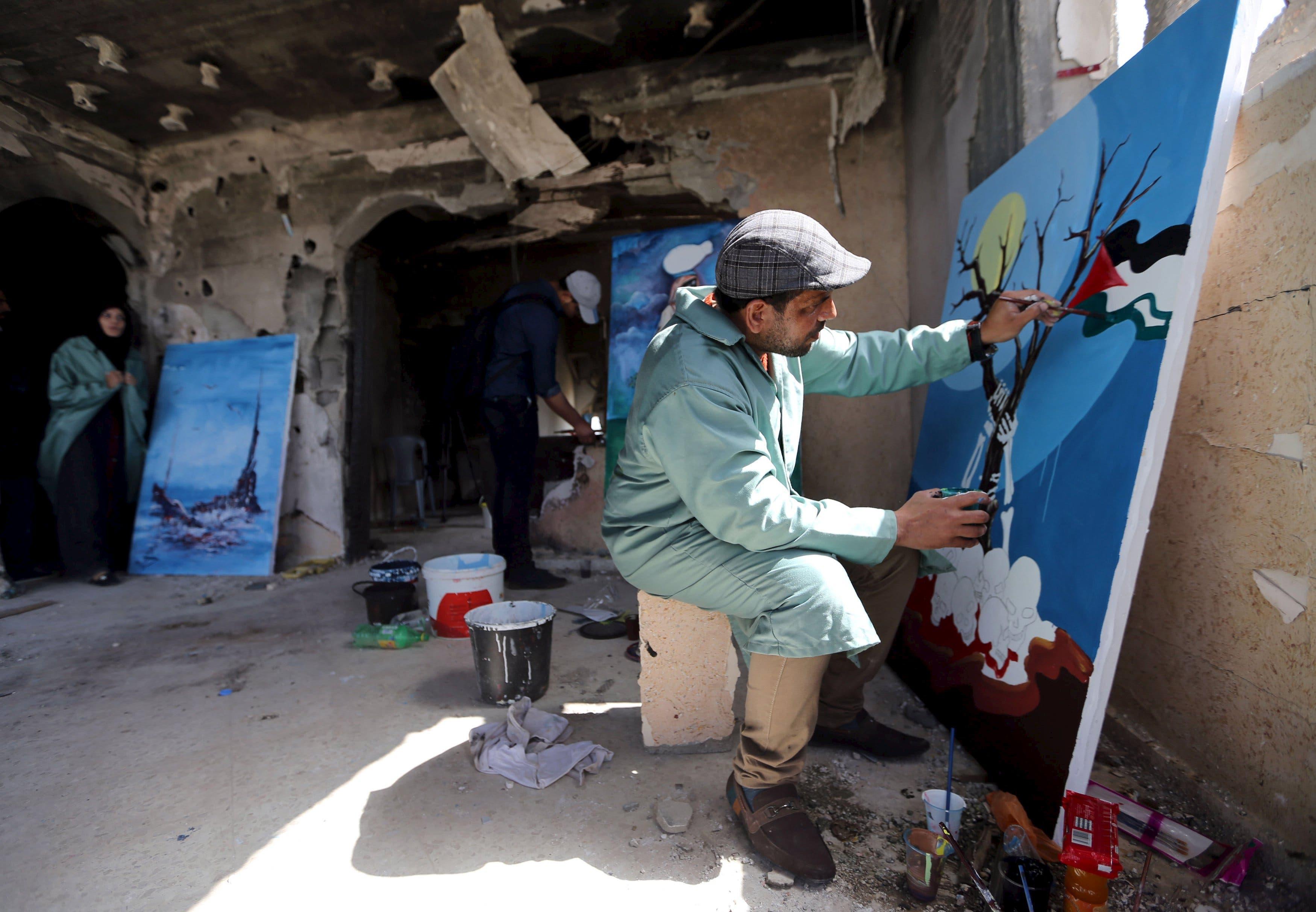 Palestinian artists display talent in Gaza