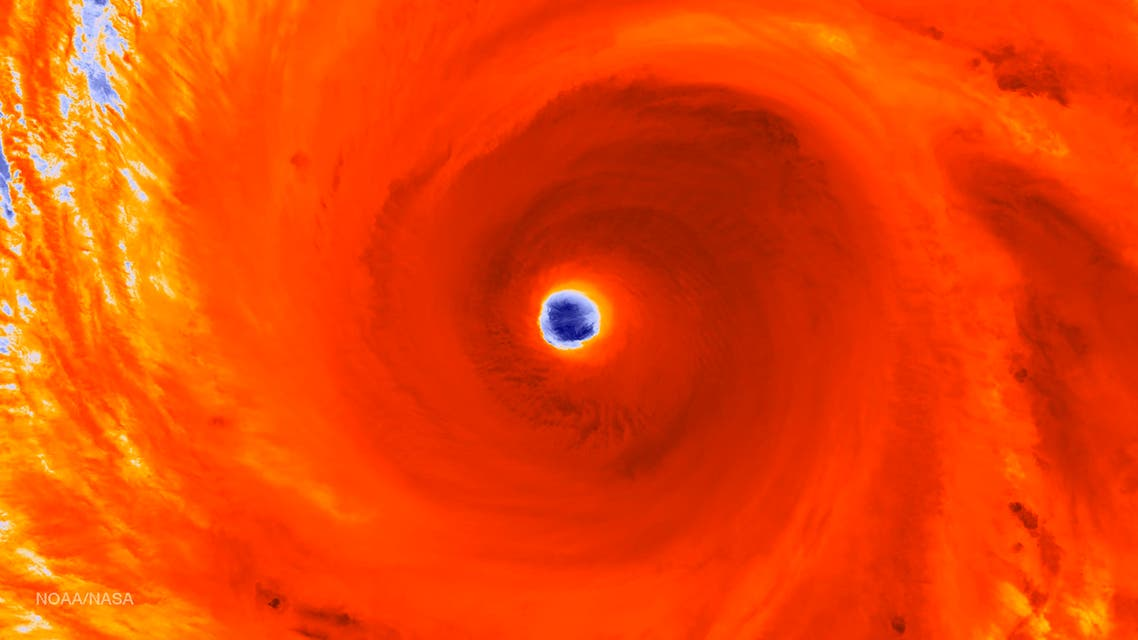 NOAA satellite infrared image shows the eyewall of Super Typhoon Maysak tracking west-northwestward through the western Pacific Ocean. (Reuters)