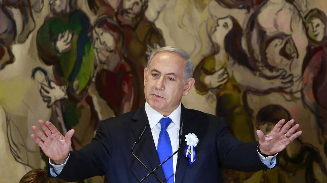Israel's Prime Minister Benjamin Netanyahu delivers a speech during an event following the first session of the newly-elected Knesset in Jerusalem, Tuesday, March 31, 2015. (File: AP)