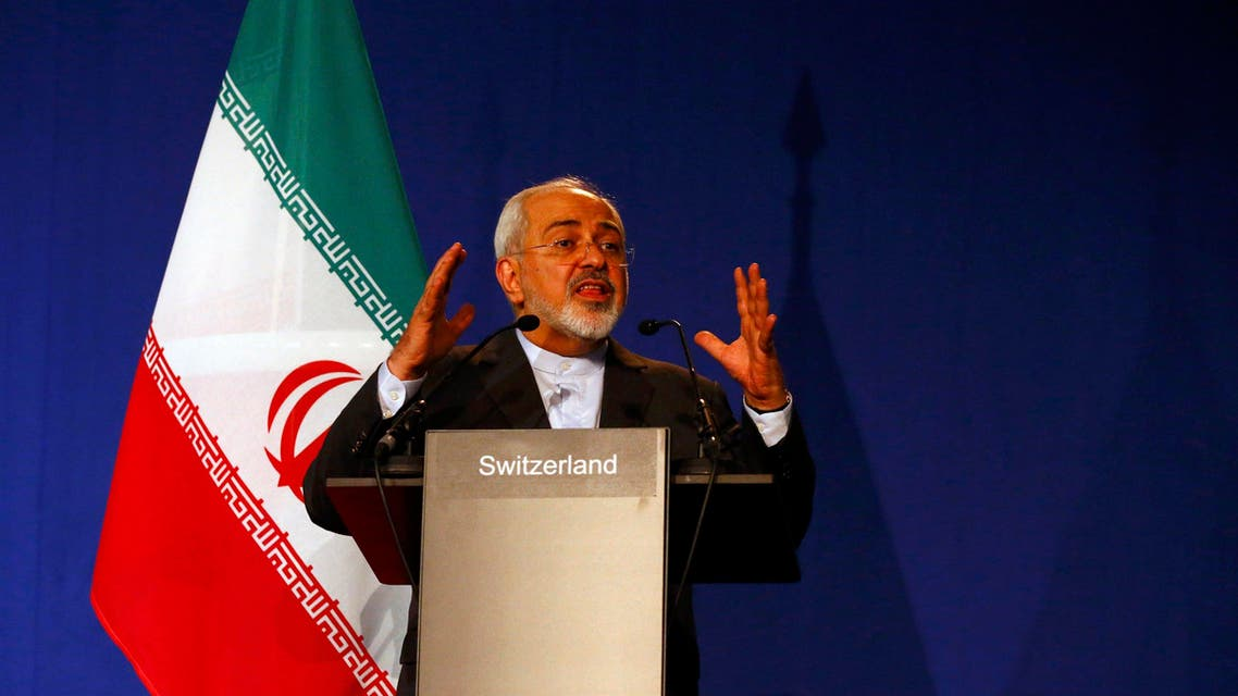 Iran's Foreign Minister Javad Zarif gestures as he speaks during a news conference in Lausanne. (Reuters)