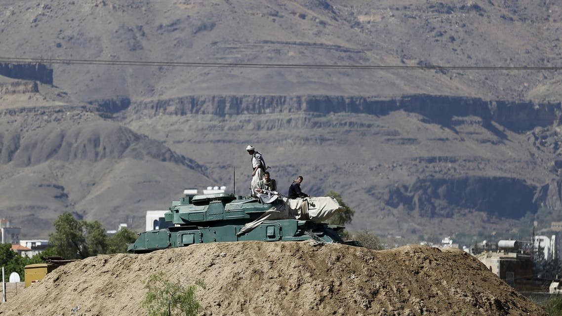 Houthi fighters sit on a tank near the Presidential Palace in Sanaa March 25, 2015. (File photo: Reuters)