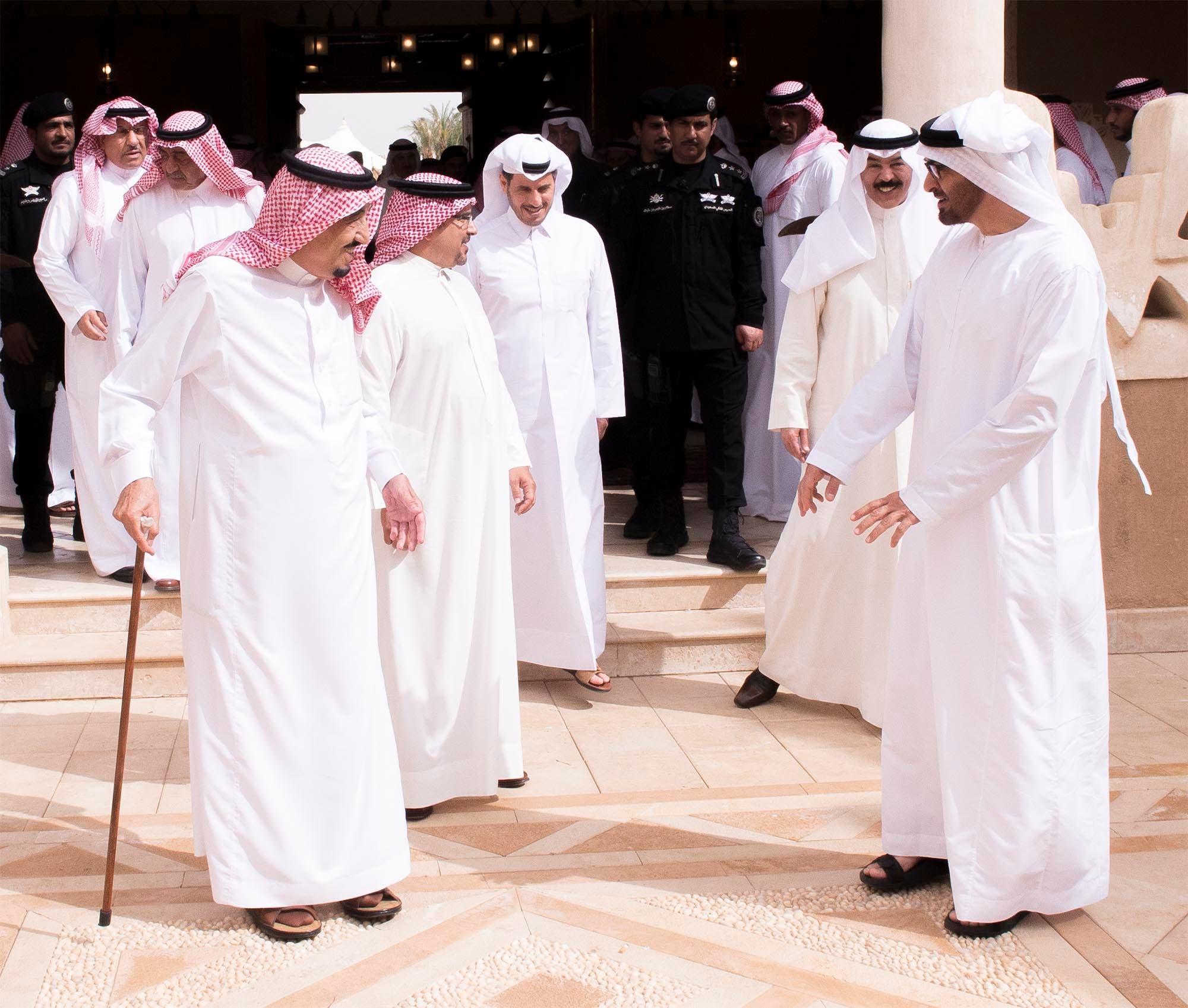 Saudi King Salman bin Abdul Aziz (L) greets Abu Dhabi Crown Prince Sheikh Mohammad bin Zayed Al Nahyan (R), Bahrain's Crown Prince Salman bin Hamad Al-Khalifa (2nd L), Qatari Prime Minister and Interior Minister Sheikh Abdullah bin Nasser Al Thani (3rd L) and Kuwait's Deputy Premier and Interior Minister Sheikh Mohammad Al-Khaled Al-Hamad Al-Sabah. (Al Arabiya)