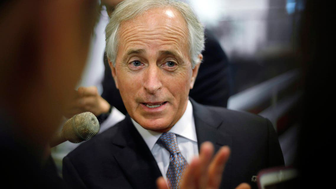 Corker talks to reporters as he arrives for the weekly Republican caucus policy luncheons at the U.S. Capitol in Washington. Reuters