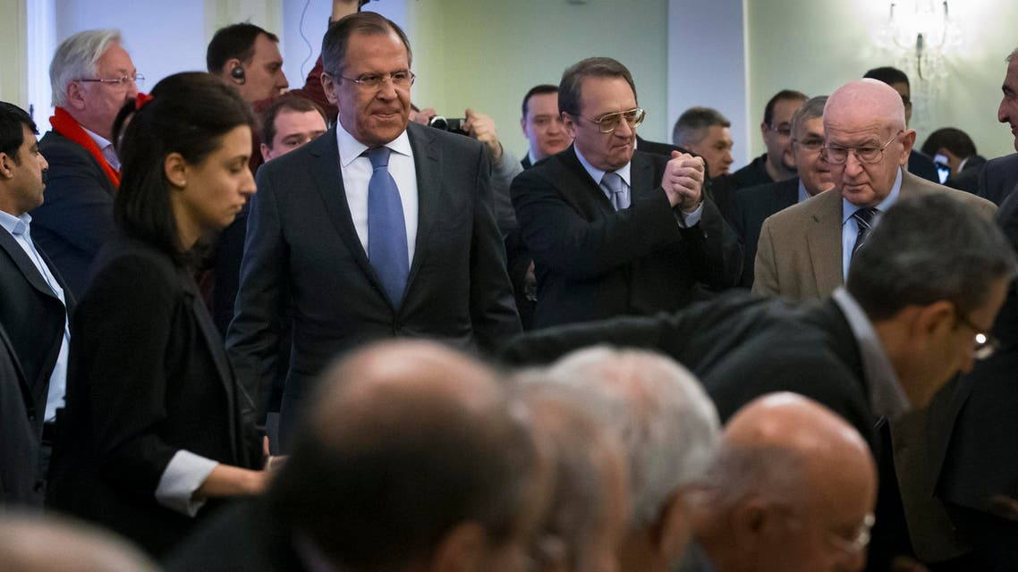 Russian Foreign Minister Sergey Lavrov, second left, arrives at a meeting of participants of consultations between representatives of the Syrian government and the Syrian opposition in Moscow, Russia, Wednesday, Jan. 28, 2015. (File Photo: AP)
