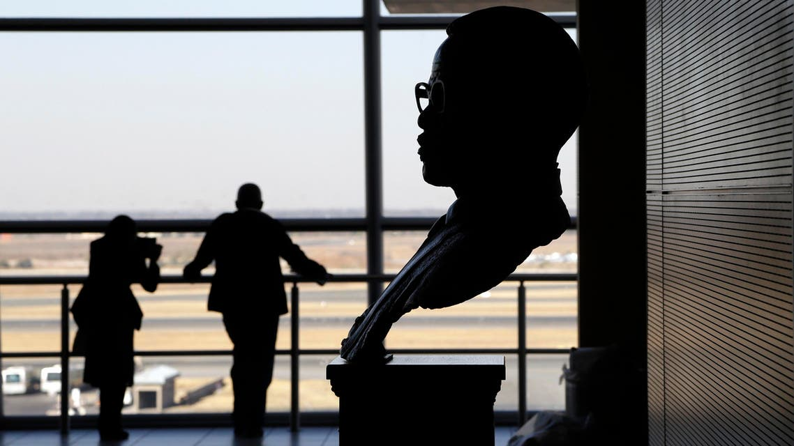 A bust of the former African National Congress (ANC) president, the late Mr Oliver Reginald Tambo placed at OR Tambo International airport in Johannesburg, South Africa, Monday, Aug. 25, 2014. AP