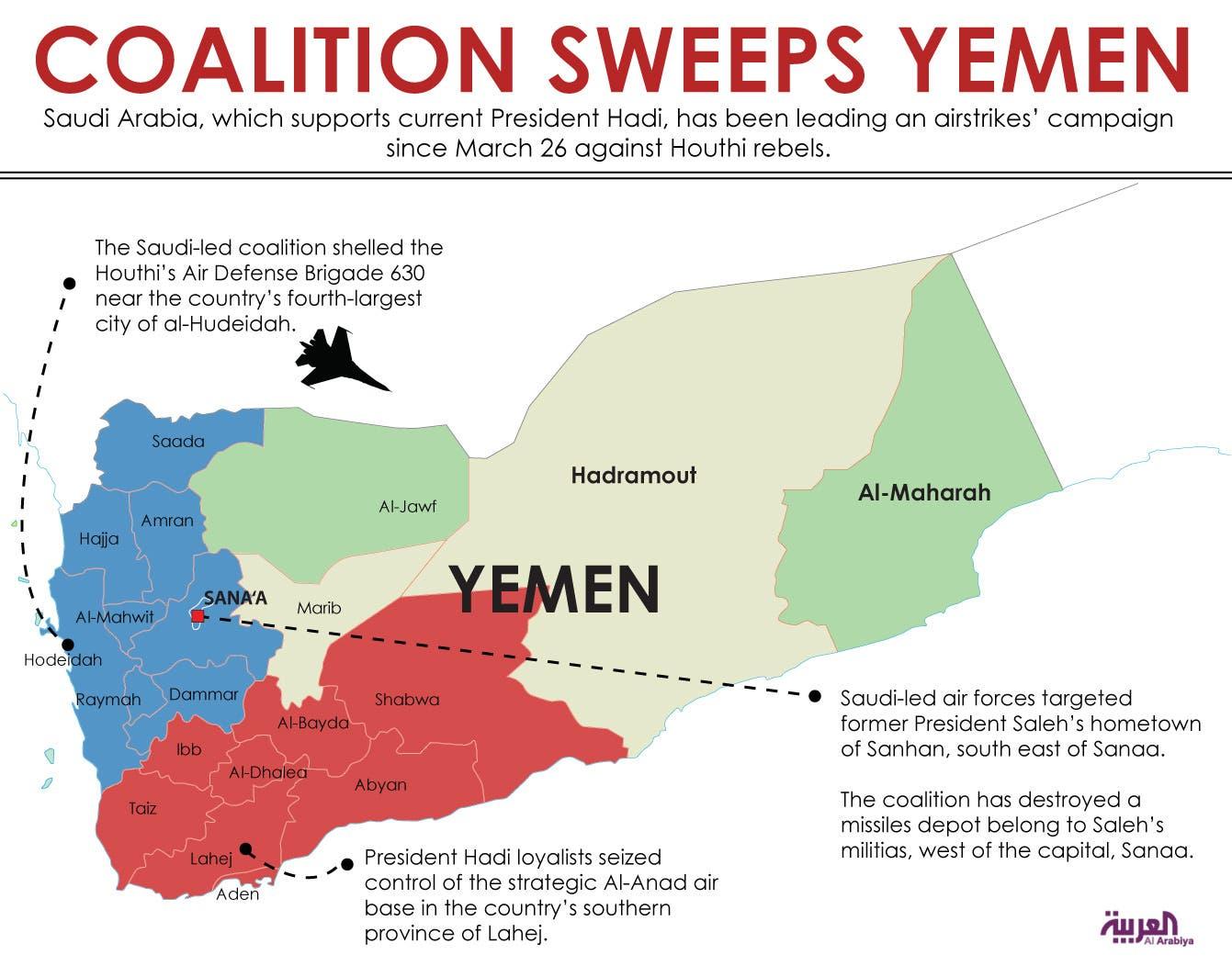 Infographic: Coalition sweeps Yemen