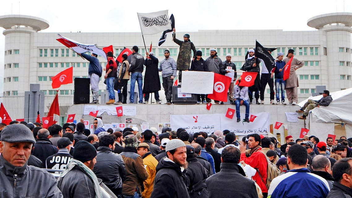 Tunisian Salafist militants demonstrate in front of the national television building in Tunis, Tunisia in March 9, 2012 (File photo: AP)