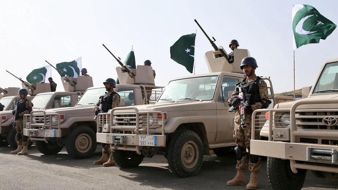"""File photo shows Royal Saudi Land Forces and units of Special Forces of the Pakistani army take part in a joint military exercise called """"Al-Samsam 5"""", north of Baha region on Monday, March 30, 2015. (AP)"""