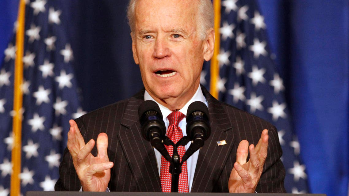Vice President Joe Biden speaks about U.S. policy in Iraq, Thursday, April 9, 2015, at the National Defense University in Washington, in advance of Iraqi Prime Minister Haider al-Abadi's visit to Washington, next week. The vice president was to discuss Iraq's political and military progress, and the work that lies ahead to defeat ISIL and forge a more inclusive Iraq. (AP Photo/Jacquelyn Martin)