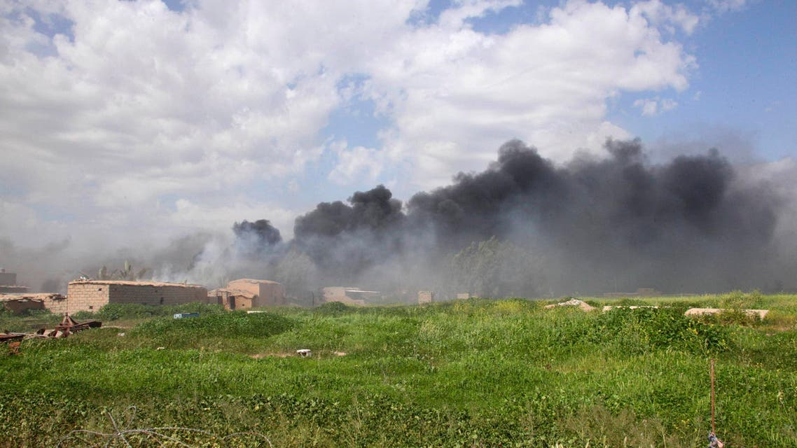 Smoke rises from clashes between Kurdish peshmerga forces and Islamic State militants in Wahda, south of the city of Kirkuk. (File: Reuters)