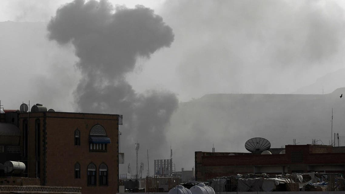 Smoke rises from the Faj Attan Hill area in the Yemeni capital, Sanaa, on April 9, 2015, following an alleged air strike by the Saudi-led alliance on Houthi camps. (AFP)