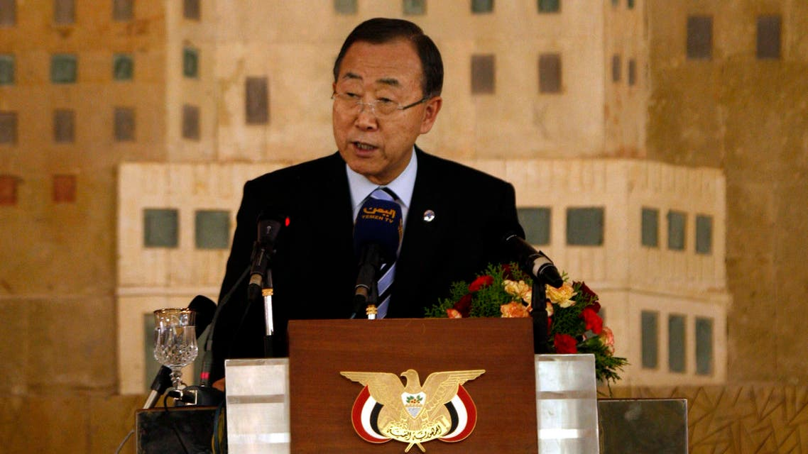 Secretary-General of the United Nations, Ban Ki-moon, speaks during a meeting at presidential palace in Sanaa, Yemen, Monday, Nov. 19, 2012. Ban Ki-moon told reporters that the United nations, the international community and the U.N. Security Council will support Yemen in the transitional period leading to the 2014 presidential and legislative elections. (AP Photo/Hani Mohammed)