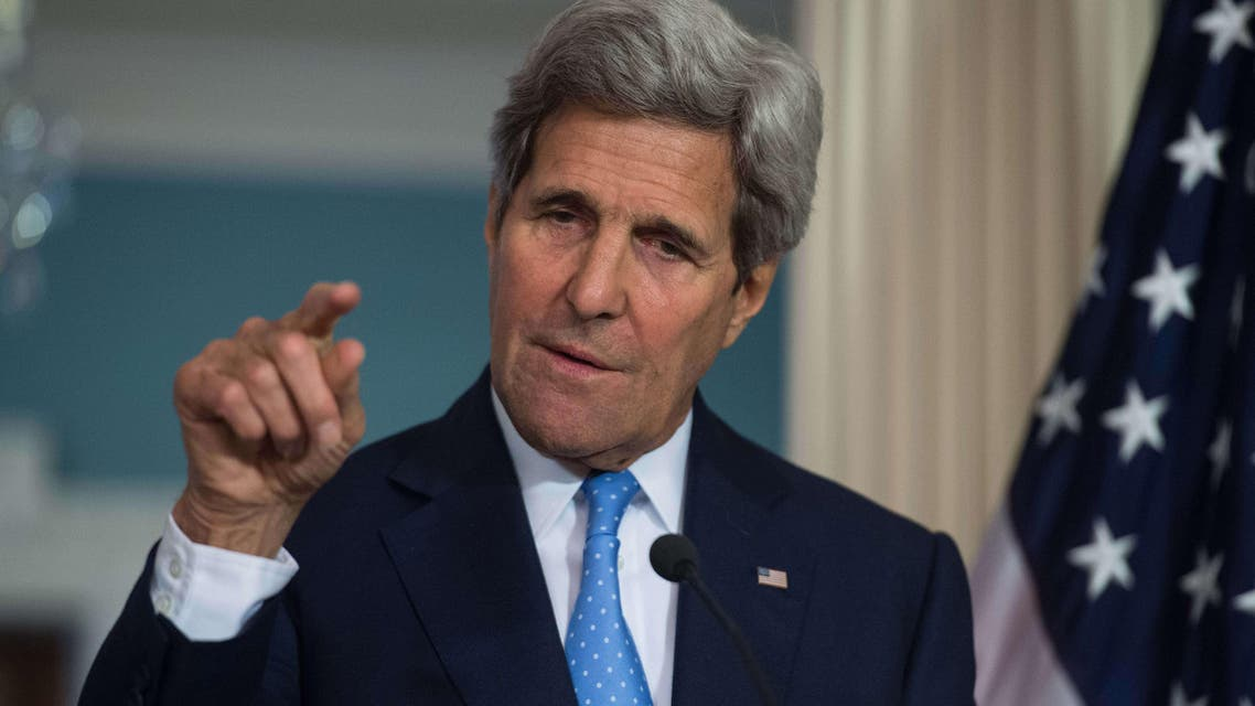 US Secretary of State John Kerry speaks to the press at the State Department in Washington, DC on April 8, 2015.  (AFP)
