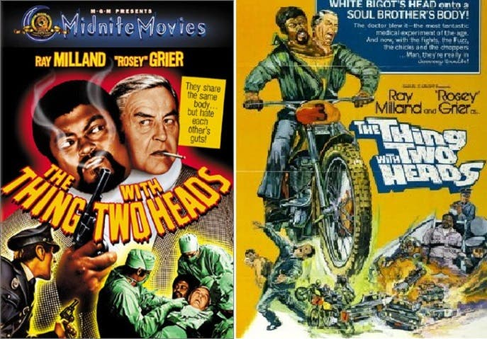 هوليوود سبقت الجميع بالخيال، فأنتجت فيلما في 1972 بعنوان الشيء ذو الرأسين، ويمكن مشاهدته في يوتيوب