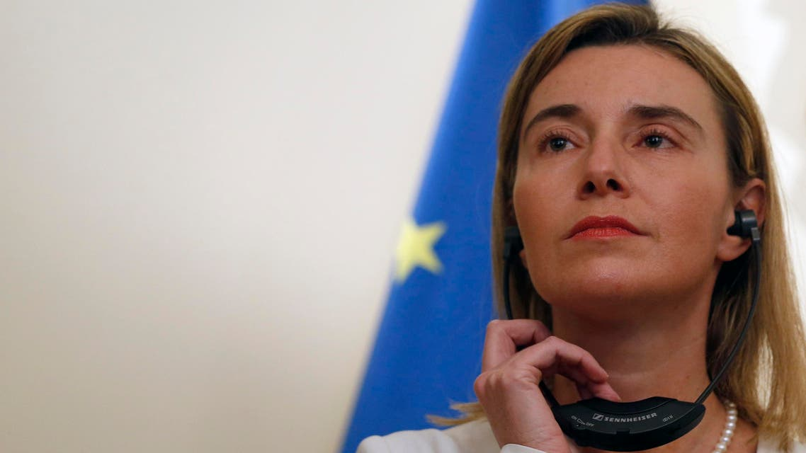 EU High Representative for Foreign Affairs and Security Policy Federica Mogherini, listens questions during a press conference with Serbian Prime Minister Aleksandar Vucic, during her first visit in Belgrade, Serbia, Friday, March 27, 2015. (AP)
