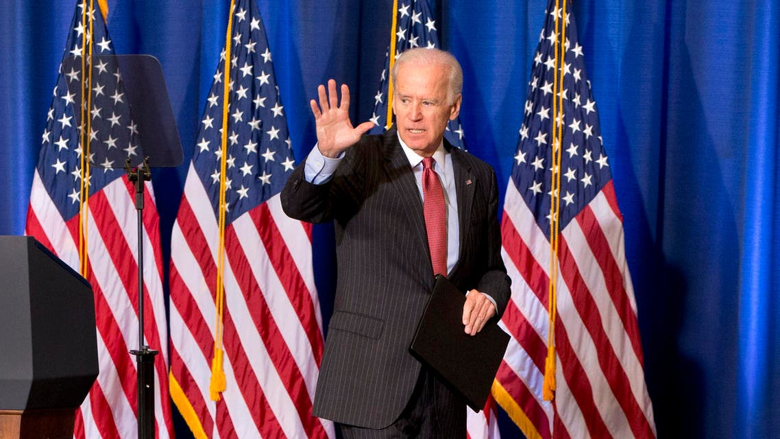 Vice President Joe Biden waves as he leaves after speaking about U.S. policy in Iraq, Thursday, April 9, 2015, at the National Defense University in Washington, in advance of Iraqi Prime Minister Haider al-Abadi's visit to Washington, next week. (AP)