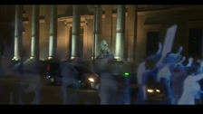 Spanish demonstrators use hologram to protest new law