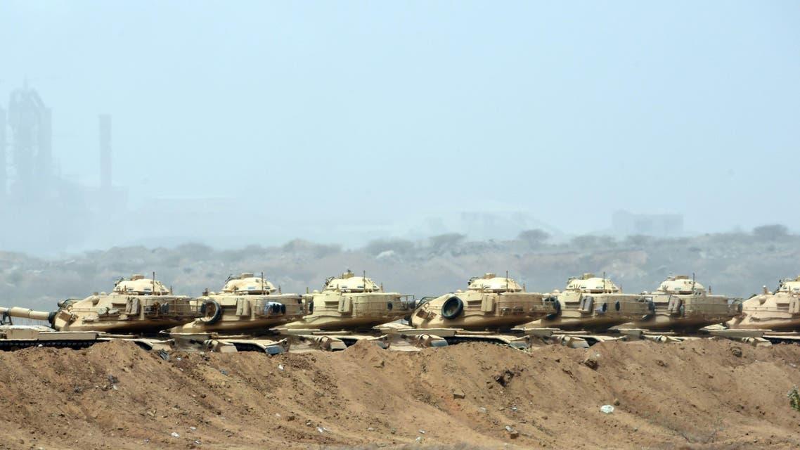 Saudi army tanks are seen deployed near the Saudi-Yemeni border, in southwestern Saudi Arabia, on April 9, 2015. (AFP)