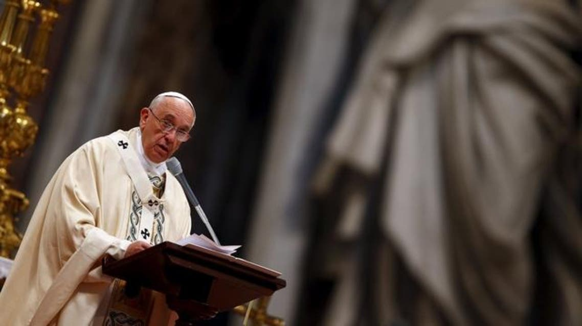 Pope Francis speaks during a mass on 100th anniversary of Armenian mass killings in St. Peter's Basilica at the Vatican April 12, 2015. (Reuters)