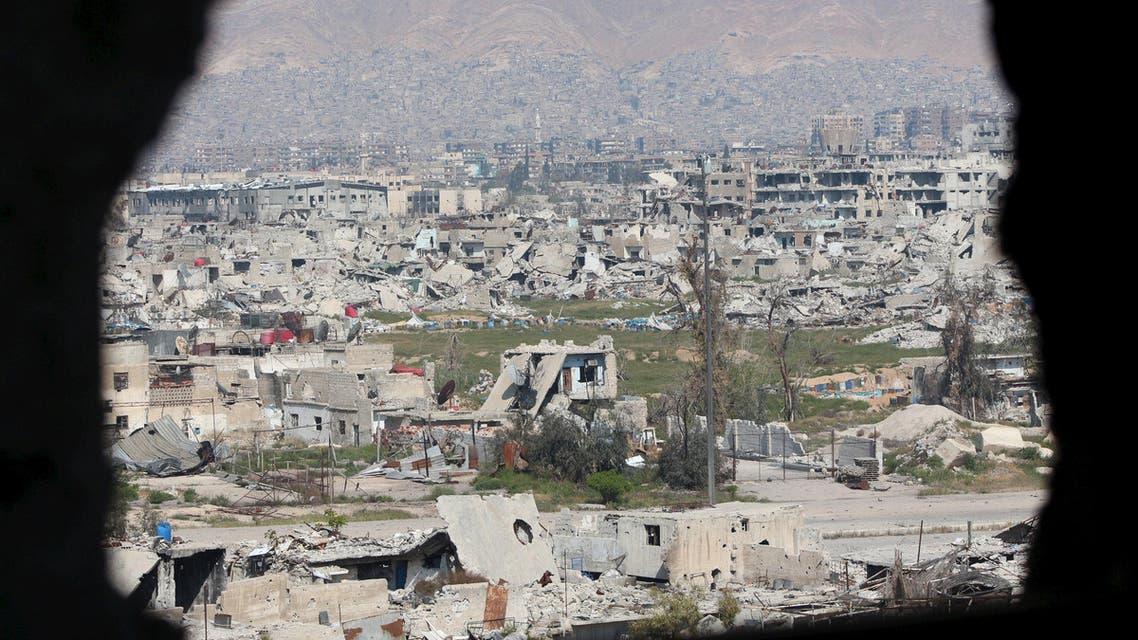 آثار الدمار دمار تدمير قصف هدم حي جوبر دمشق