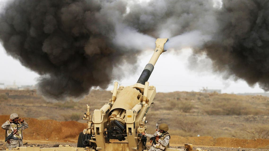 A Saudi artillery unit fires shells towards Houthi positions from the Saudi border with Yemen. (Reuters)