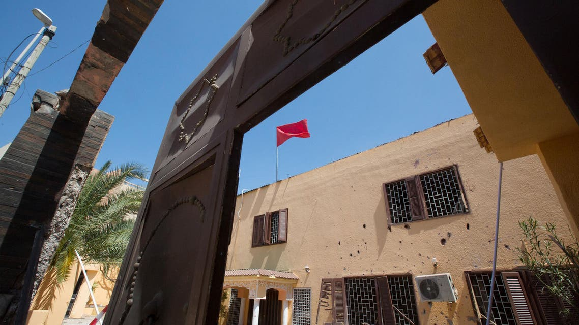 A flag flies over the Moroccan Embassy after a bomb placed in a garbage bin targeted the site in the capital, Tripoli. in Tripoli, Libya on Monday, April 13, 2015.  (AP)