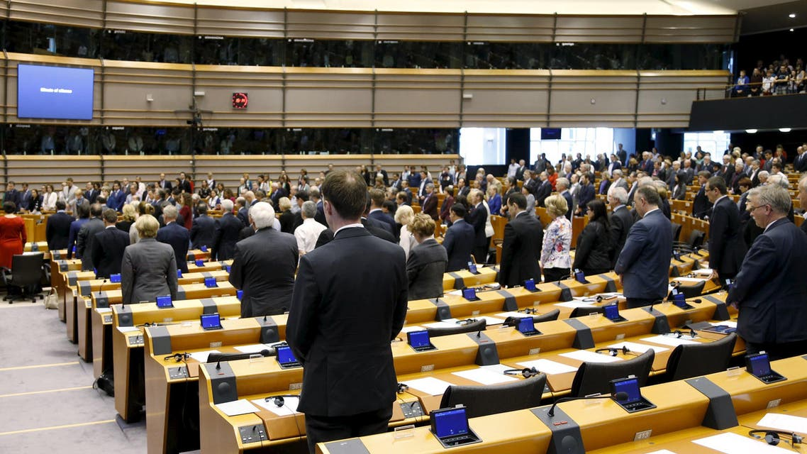 Members of the European Parliament (MEP) observe a minute of silence as they commemorate the 100th anniversary of Armenian mass killings, at the EU Parliament in Brussels April 15, 2015. REUTERS