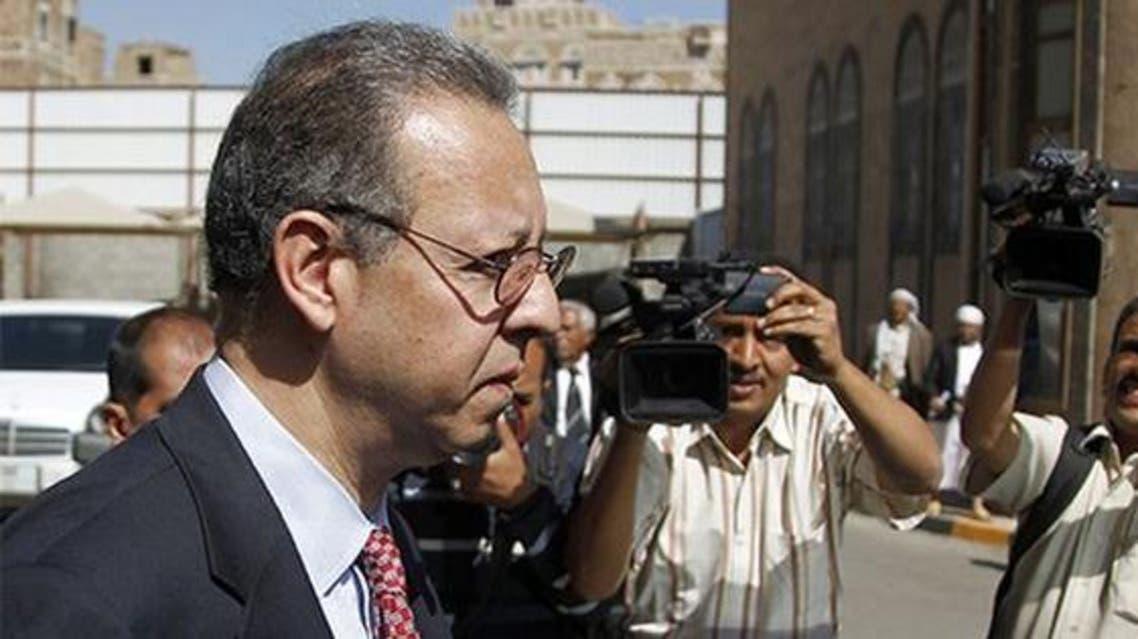 Jamal Benomar, the U.N. special adviser on Yemen, leaves the legislative body in Sanaa. (File photo: Reuters)