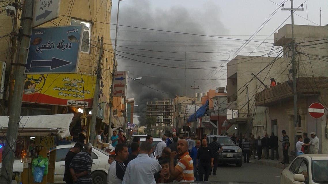 Smoke rises from the site of a bomb attack in Erbil, the capital of Iraq's Kurdistan region, April 17, 2015. (Reuters)