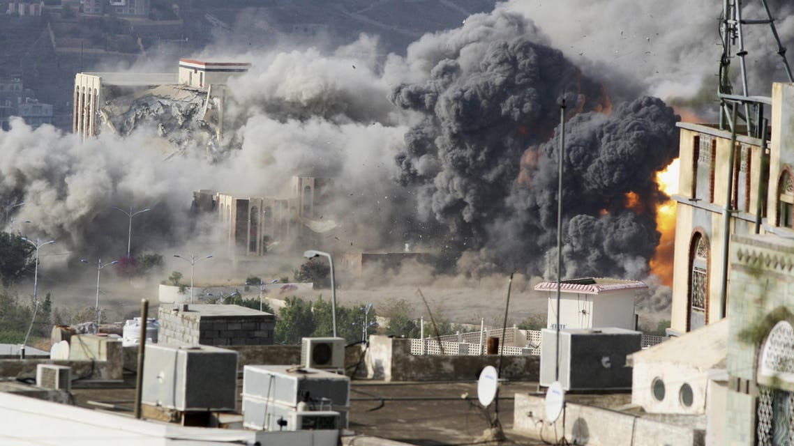 Smoke billows during an air strike on the Republican Palace in Yemen's southwestern city of Taez. (Reuters)