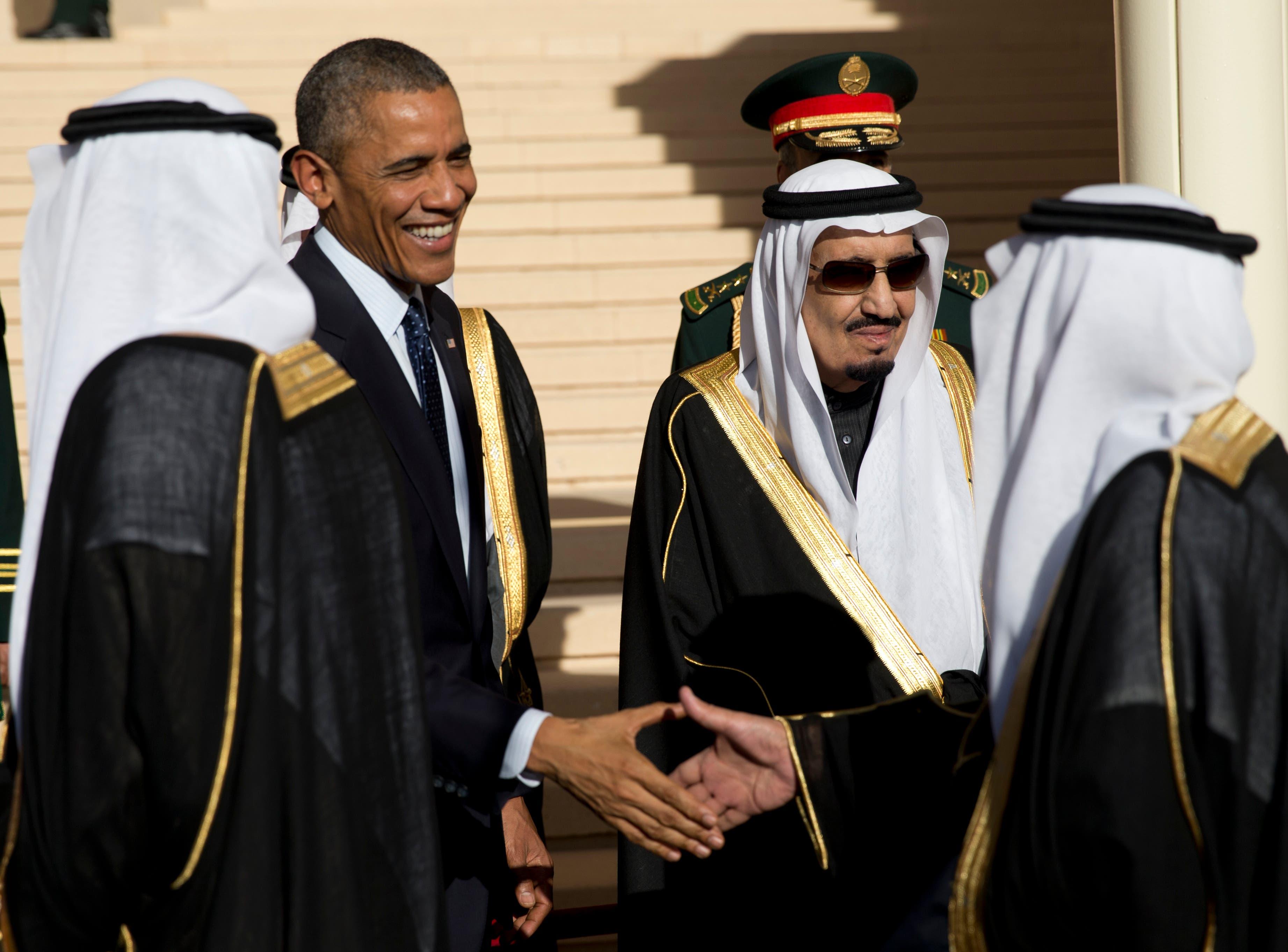 President Barack Obama meets with new Saudi Arabian King, Salman bin Abdul Aziz, at Erga Palace in Riyadh, Saudi Arabia in January. (File: AP)