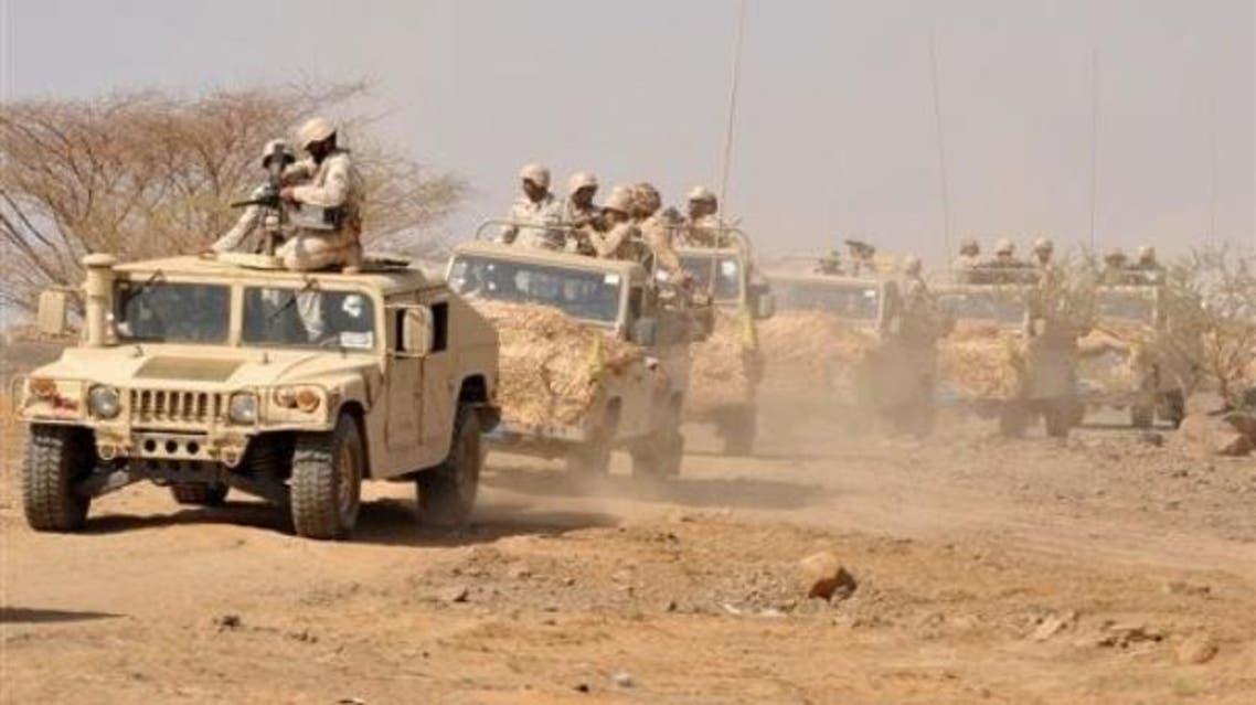 قوات عسكرية سعودية على الحدود اليمنية السعودية
