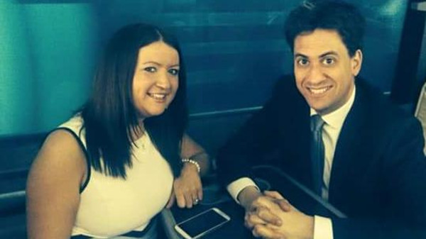British Labor leader Ed Miliband mobbed by hen party